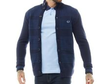 Fred Perry Mens Patchwork Texture Button Cardigan Navy S,M