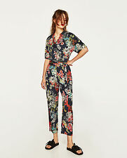 ZARA Floral Print Wrap Navy Blue Crossover Belted Silky Jumpsuit XS S BNWT