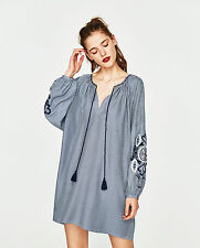 ZARA Floral Embroidered Stripe Bead Tassel Tunic Kaftan Dress Blue White XS S M