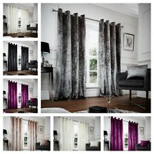 Luxury Crushed Velvet Curtains PAIR of Eyelet Ring Top Fully Lined Ready Made