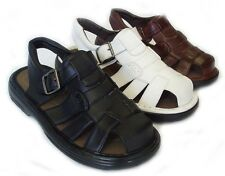 NEW MENS LEATHER STRAP FISHERMAN SANDALS CLOSED TOE 3 COLORS