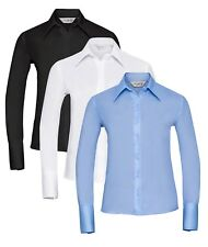 Ladies Womens BLUE BLACK WHITE Long Sleeve Button Collar Non-Iron Shirt Blouse