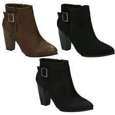 WOMENS BUCKLE FASHION BLOCK HIGH HEEL ANKLE BOOTIES BOOTS LADIES SHOES SIZE 3-8