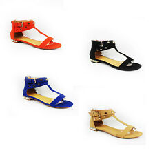 WOMENS GLADIATOR STRAPPY T-BAR FLAT ANKLE SANDALS LADIES SHOES NEW SIZE 3-8