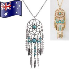 Womens Retro Turquoise Feather Dream Catcher Tribal Boho Pendant Chain Necklace