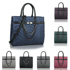 Women's High Quality Faux Leather Large Quilted Tote Hobo Handbag Shoulder Bag