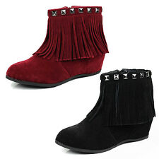 WOMENS HIDDEN LOW WEDGE HEEL FRINGE TASSEL ANKLE BOOTS LADIES SHOES SIZE 3-8