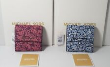 NWT MICHAEL KORS JET SET TRAVEL LEATHER SMALL CARD TRIFOLD WALLET Damson/Navy