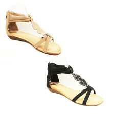 WOMENS STRAPPY WEDGE HEEL T-BAR ANKLE FLIP FLOPS SANDALS LADIES SHOES SIZE 3-7