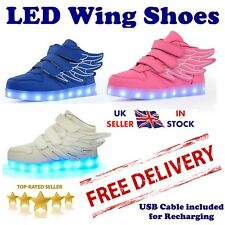 KIDS LED Wing Flash Light Up USB Rechargeable Shoes Sneakers for Boys & Girls