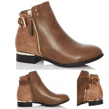 Womens Ladies Ankle Boots Chelsea Zip Buckle Low Block Heel Riding Shoes Size
