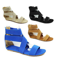 WOMENS SUMMER FLAT STRAPPY GLADIATOR ANKLE SANDALS LADIES SHOES NEW SIZE 3-8