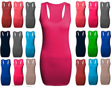Stretch Ladies Racer Back Bodycon Muscle Vest Women Gym Maxi Top UK Size 8 to 26
