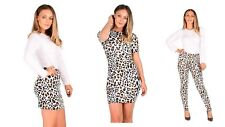 New Women's Ladies Leopard & Snakeskin Print Bodycon Mini Dress Top Legging