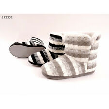 Ladies Gorgeous Striped Cable Knit Fleece Lined Slipper Boots - UK Sizes 3-7