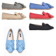 WOMENS OFFICE WORK SCHOOL TASSEL LOAFERS PUMPS MOCCASINS LADIES SHOES SIZE 3-8