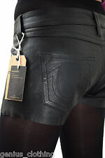 "True Religion Sexy Leather Black Shorts ,BNWT, rrp £285, Waist 28"" or 30"""