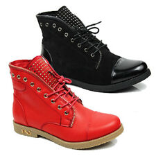 WOMENS CASUAL LACE UP COMBAT WALKING ANKLE BOOTS LADIES SHOES NEW SIZE 3-8