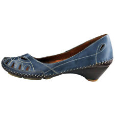 RRP £89 PIKOLINOS WOMENS COURT SHOES SLIP ON HEELS NAVY LEATHER BRANDY  UK 7