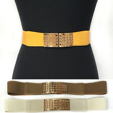 Bling WOMEN Fashion ELASTIC Stretch WAIST WIDE BELT Gold Metal Chain Prom Dress