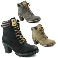 WOMENS CASUAL ARMY BLOCK HEEL LACE UP COMBAT BIKER LADIES ANKLE BOOTS SIZE 3-8