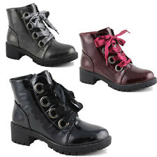 WOMENS LADIES CHUNKY SOLE COMBAT ARMY LACE UP PUNK GOTH ANKLE BOOTS SIZE 3-8