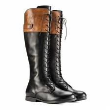 BIRKENSTOCK Women's Black Camel Leather Longford Knee High Lace up Boots