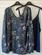 NEXT Blue Floral Layer Blouse Top Tunic PLUS SIZE 14 16 18 20 22 BNWT