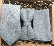Grey Mens Tie, Bow Tie and Pocket Square perfect for weddings / Groomsmen Gifts