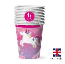 MAGICAL UNICORN PAPER CUPS Kids Birthday Party Tableware Pony Decorations UK
