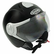 GSB G-247 Matt Black Plain Motorcycle Motorbike Open Face Crash Helmet Scooter