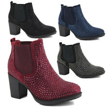 WOMENS STUDDED CUBAN HEEL COWBOY CASUAL PULL ON ANKLE BOOTS SHOES SIZE 3-8