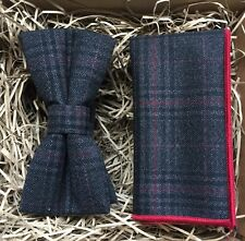 Blue, Wool, Checked Bow Tie and Pocket Square / Bow Tie Sets / Ties For Men