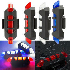 USB Rechargeable Bike Bicycle Cycling 5 LED Tail Warning Light Rear Safety Kit