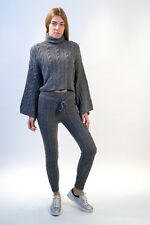 Womens Tracksuit Cable Knit Roll neck Sweater Top Leggings Lounge Wear