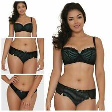 Curvy Kate Ritzy Black/Aqua Moulded Padded Bra or Short or Thong