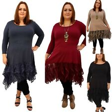 Wolfairy Plus Size Longer Tunic Top Lagenlook Floral Lace Frill 3/4 Sleeve