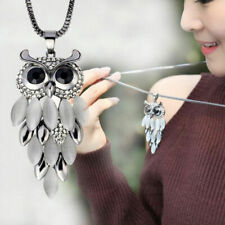Women Gift Necklace Fashion Pendant Owl Rhinestone Long Sweater Chain Crystal