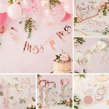 TEAM BRIDE FLORAL AND ROSE GOLD HEN PARTY ACCESSORIES, GAMES AND DECORATIONS