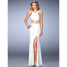 Suzanjas Two-Piece Evening Dress in White Gold Crop Top with Skirt  SIZE 734e18f25