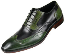 e2811df212 Mens Classic Two Tone Black and Green Genuine Leather Wingtip Oxfords Dress  Shoe