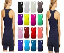 Ladies Womens Long Racer Back Bodycon Muscle Vest Top Gym Top All Plus Sizes