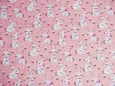 New Remnants Off Cut Fabric Polycotton PEACH  EASTER BUNNIES RABBIT NURSERY
