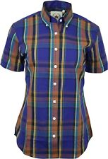 Relco Womens Purple Blue Check Short Sleeve Button Down Collar Shirt Skin Mod