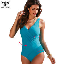 NAKIAEOI 2019 New One Piece Swimsuit Women Plus Size Swimwear Retro Vintage