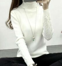 Winter Sweatshirt Women Pullover Xmas Jumper Tops Autumn Turtleneck Knitted
