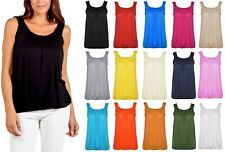 Women Vest Top Loose Fit Elasticated Waist Sleeveless Casual Tank T-Shirt Blouse