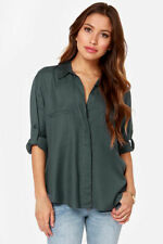 RVCA TALON  WOMENS LONG BUTTON UP LONG SLEEVE SHIRT