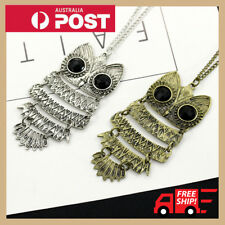 Fashion Bronze Owl Pendant Long Retro Vintage Necklace Jewelry Sweater Chain