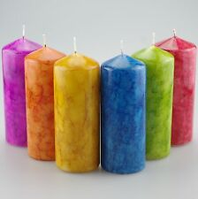 Marble Effect Pillar Candle Set of 2 - two sizes available Hand Painted